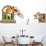 3D Giraffe Family 3D Wall Stickers DIY Removable Animal Bedroom Living Room 3D Wall Stickers