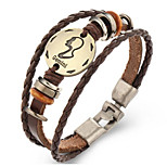 Unsex Vintage Gemini Weave Leather Bracelet   Jewelry For Daily 1 pc
