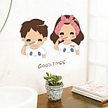 Lovely Couple Brushing The Wall Stickers Valentine's Day Ideas Bathroom Toilet Toilet Mirror Ceramic Tile Decorative Stickers