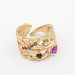 Korean Style Fashion Multicolor Rhinestone Leaf Cuff  Ring Statement Jewelry
