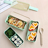 1Pcs  3 Layer  Slim Bento Lunch Box Food Container Lunchbox With Spoon & Carry Lunch Tote Bag Microwave Safe