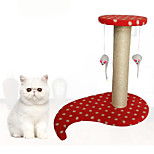 Cat Toy Interactive Scratch Pad Durable Wood Plush Blushing Pink Blue Red Brown