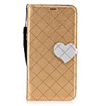 For LG K8 K7 Case Cover The New Grid Pattern Pattern Love Buckle PU Material Hit Color Phone Case