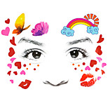 1Pcs Rainbow Love Heart Lovely Kid's Tattoo Sticker Colorful Glitter Tattoo On Face As Gift To Children