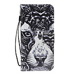 For Huawei P8 Lite (2017) P10 Lite Case Cover Lion Pattern PU Material Painted Card Wallet Stent All-Inclusive Phone Case P8 P9 Lite