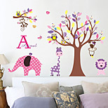 Cartoon Owl Flowers Tree Zoo Wall Stickers Removable Children's Room Wall Decals