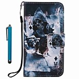 For Case Cover Card Holder Wallet with Stand Flip Pattern Full Body Case With Stylus Skull Hard PU Leather for Apple iPhone 7 Plus 7 6s Plus 6s 5s se