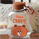 Botella de jugo de agua de vidrio portátil de dibujos animados 300ml