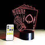 poker pelikortit 3d lamppu romanttinen 7 värinvaihto kosketusnäyttö yövalo koti Cafe Bar koriste Uuden vuoden lahjat