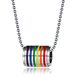 Rainbow Loop Necklace Pendant For Men Women Fashion Jewelry Stainless Steel  Pride Homosexual Gift 24 Ball Chain