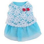 Dog Dress Dog Clothes Spring/Fall Lace Cute Light Blue Blushing Pink