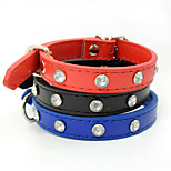 Collar DIY Supplies Adjustable/Retractable Solid Rhinestone PU Leather Black Blue Red