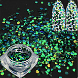 1 Bottle Fashion Nail Art Glitter Emerald-green Fish Scale Slice Decoration Laser Nail Art Mermaid Hexagon Paillette Glitter Thin Slice LP07