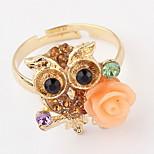 Euramerican Gold Sweet Delicate Rhinestone Owl Flower Cuff Ring Gift Jewelry