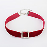 Women's Choker Necklaces Rhinestone Square Velvet Alloy Euramerican Fashion Jewelry For Party Daily 1pc