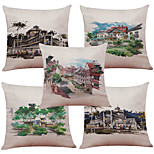 Set of 5 Hand-Painted Villa Pattern  Linen Pillowcase Sofa Home Decor Cushion Cover (18*18inch)