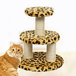 Cat Toy Pet Toys Interactive Scratch Pad Durable Wood Plush Leopard