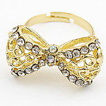 Korean Style Classic Luxury Classic Butterfly Yellow Rhinestone Women's Party Ring Gift Jewelry