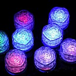 12Pcs Changing Color Novelty Gadget Led Light Ice Rose Shaped  Ice Cubes Decorative Led Luminous Flash Light Ice