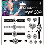 Temporary Tattoos Leg Body White Series 3D Rose Waterproof Tattoos Stickers Non Toxic Glitter Large Fake Tattoo Halloween Gift 22*15cm