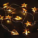 3W W Φώτα σε Κορδόνι lm Μπαταρία 1.5 m 10 leds Θερμό Λευκό
