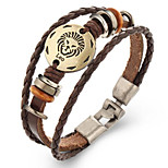 Unsex Vintage Leo Weave Leather Bracelet   Jewelry For Daily 1 pc