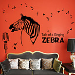 Creative Singing Zebras Wall Stickers Living Room Decoration Wall Decals