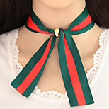 Women's Choker Necklaces Bowknot Striped Fabric Alloy Euramerican Fashion Jewelry 1pc