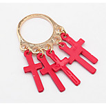 Euramerican Fashion Personality Red Dangling Style Cross Ring Statement Jewelry