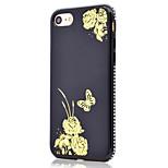 Per la cassa molle del telefono del tpu del rhinestone del lato del reticolo del modello della farfalla del fiore dorato per il iphone 7