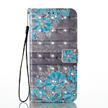 For Huawei P8 Lite (2017) P9 Lite Card Holder Wallet Pattern Case Full Body Case Flower Hard PU Leather
