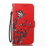 For LG K8 K7 Case Cover Butterfly Flowers Pattern PU Material Card Stent Wallet Phone Case G6