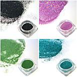 4bottles/set 0.2g/bottle Fashion Colorful Shining DIY Charm Pigment Nail Art Laser Glitter Holographic Fine Powder Gorgeous Decoration JX05-08