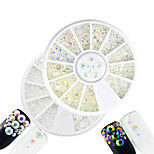 2pcs/set Fashion White&Transparent Mixed Size DIY Beauty Shining Resin Jelly Rhinestone Decoration Nail Art Round Disc Glitter Rhinestone