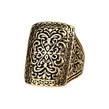 Big Carved Gold Silver  Antique Engraved Flower  Ring