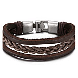 Men's Genuine Leather Bracelets Fashion Hip-Hop Rock Circle Round Jewelry For Birthday Gift Sports Christmas Gifts