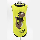 Dog Vest Dog Clothes Casual/Daily Cartoon Green Yellow