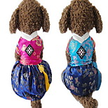 Dog Clothes/Jumpsuit Dress Dog Clothes Cute Wedding Embroidered Blue Fuchsia