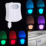 New Sensor Toilet Light 8 Colors LED Battery-operated Lamp Human Motion Activated PIR Automatic RGB LED Toilet Nightlight (Powered by 3 AAA Battery