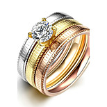 Concise Mixed Color Titanium Steel Imitation Drill 3 in 1 Band Wedding Ring Set Jewellery for Women Accessiories