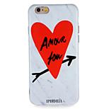 Назначение Чехлы панели IMD С узором Задняя крышка Кейс для Слова / выражения С сердцем Мрамор Мягкий Термопластик для AppleiPhone 7 Plus