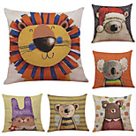 Set of 6 Decorative Cartoon Pattern Linen Pillowcase Sofa Home Decor Cushion Cover  Throw Pillow Case (18*18inch)