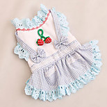 Dog Dress Dog Clothes Cute Casual/Daily Bowknot Blue Red