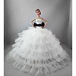 Wedding Dresses in Crystal White For Barbie Doll For Girl's Doll Toy