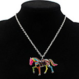 Korean Style Fashion And Personality  Contracted  Adorable Multicolor Horse Lady Party Daily Pendant Necklace Movie Jewelry