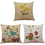 Set of 3  Retro Home Decoration Flowers Pattern  Linen Pillowcase Sofa Home Decor Cushion Cover