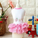 Dog Dress Dog Clothes Cute Fruit Blushing Pink Red