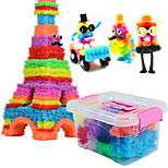 Approx 750PCS DIY Bunchems Building Block Toys Set with 70 Accessory Kid Squish Connect Create Squeezing Assembly Bunchems Ball Educational Toys Kit