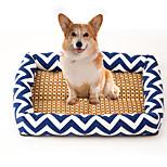 Кошка Собака Кровати Животные Коврики и подушки В полоску Дышащий Мягкий Эластичный Прочный Оранжевый Темно-синий Синий