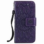 Pour Apple iPod touch 5 touch 6 housses porte porte-carte porte-monnaie avec support flip en relief motif plein corps étui fleur dur pu